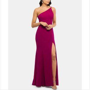 Purple One Shoulder Crepe Formal Dress Gown petite